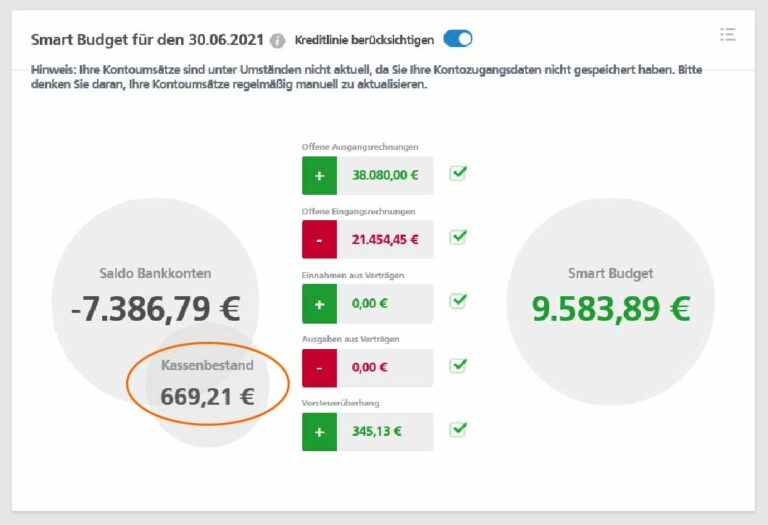 Digitales Kassenbuch im SmartBudget