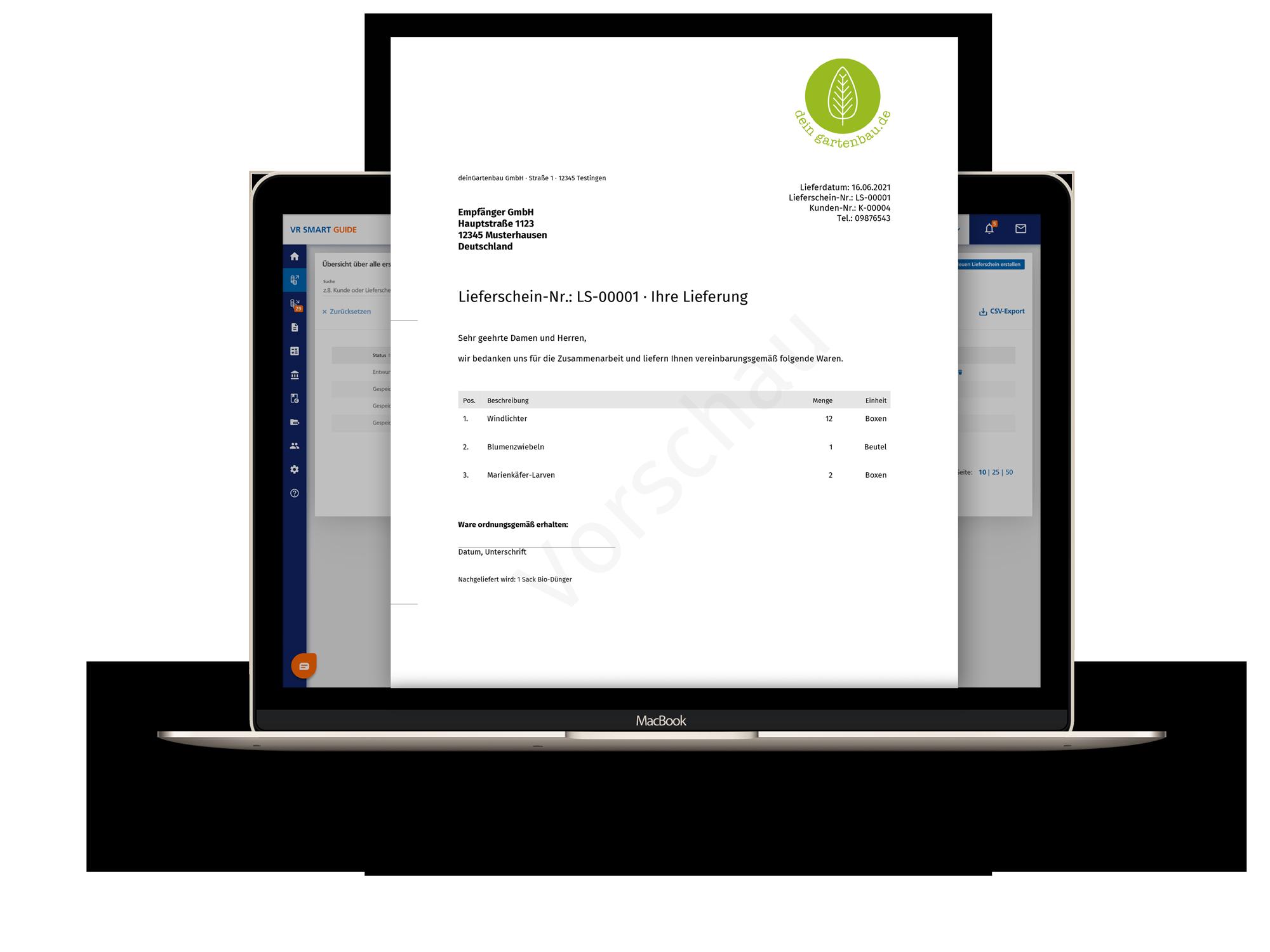 Lieferschein als PDF herunterladen